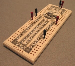 Moose Faux Ivory Cribbage Board