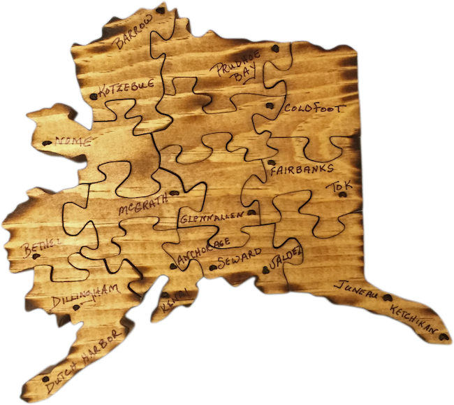 Alaska State Map Hand Cut Wood Puzzle