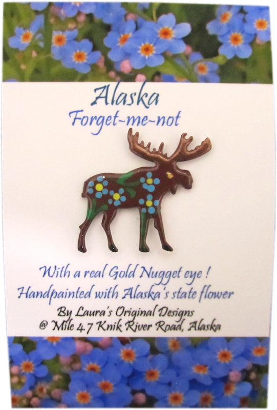 Forget-Me-Not Moose Pin
