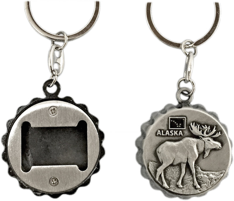 Moose Cap Bottle Opener Keychain