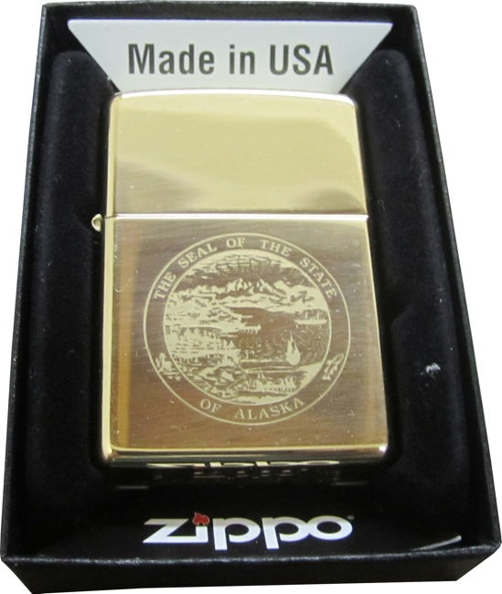 Alaska State Seal Polished Brass Zippo Lighter