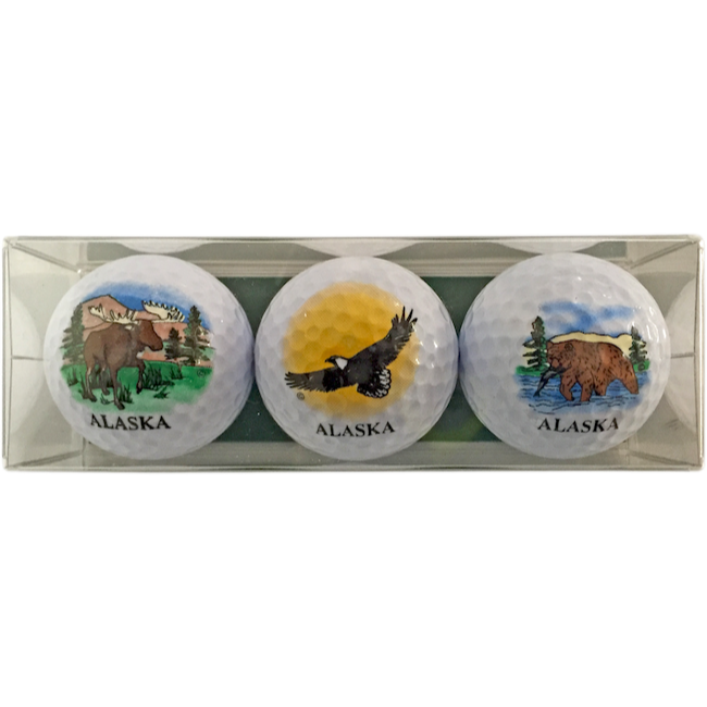 Moose, Eagle & Bear Alaska Golf Ball 3-Pack