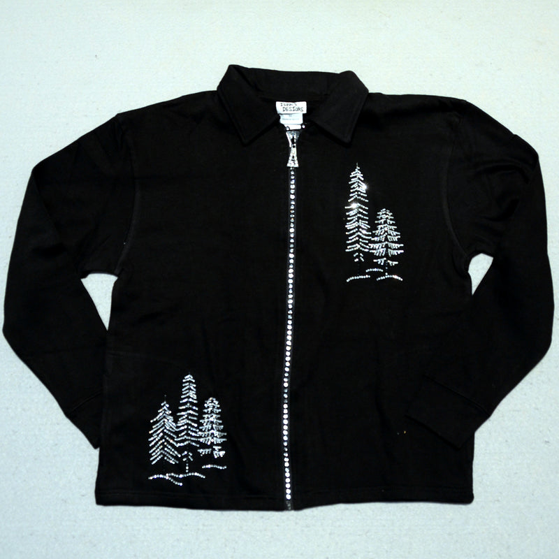 Womens Crystal Zipper Sparkle Trees Alaska Jacket