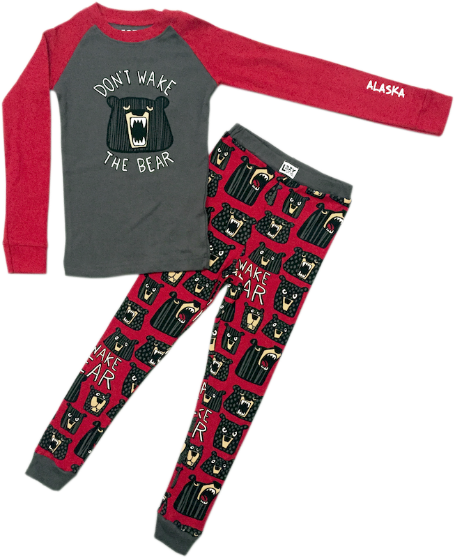 Don't Wake the Bear Alaska Kids PJ Set