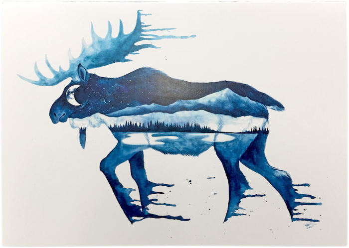 Blue Moon Moose Notecard.