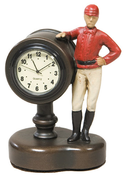 Jockey Desk Clock W/ Red Silks