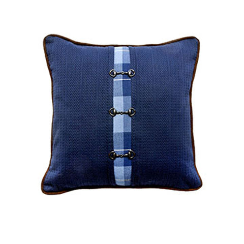 Cardigan Navy Snaffle Bit Pillow