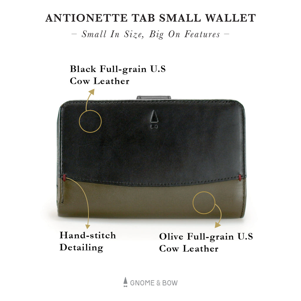 Antoinette Tab Small Wallet Leather Women Personalised Black Olive Silver Zipper