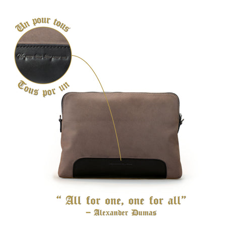 Aramis Crossbody Clutch (Suede Nylon Leather) Women Personalised Leather Taupe Grey Silver Zipper Big Bag