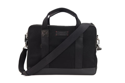 Aspen Slim Briefcase in Jet Black | Gnome & Bow