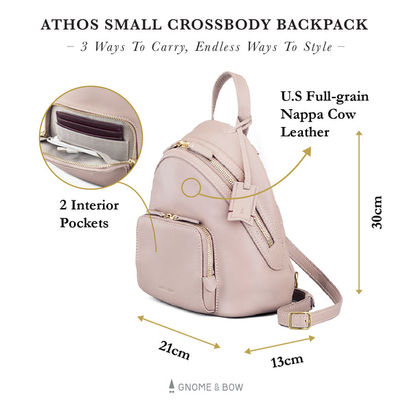 Athos Small Crossbody Backpack (Leather) Women Personalised Black Blue Taupe Pink Red Gold Zipper Bag