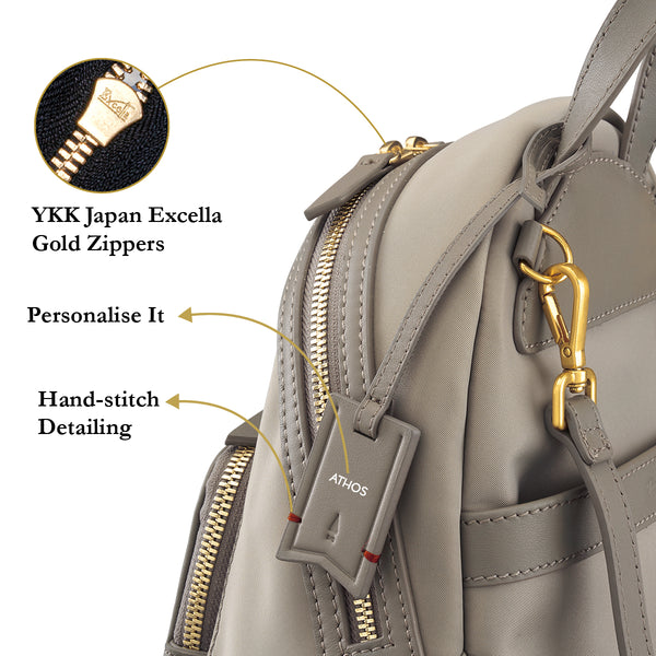 Athos Small Crossbody Backpack (Nylon Leather) Women Personalised Black Blue Taupe Water Resistant Gold Zipper