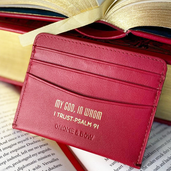 Austen Slim Cash Card Holder Wallet (RFID) Red Personalised Qoute MY GOD, IN WHOM I TRUST - PSALM 91