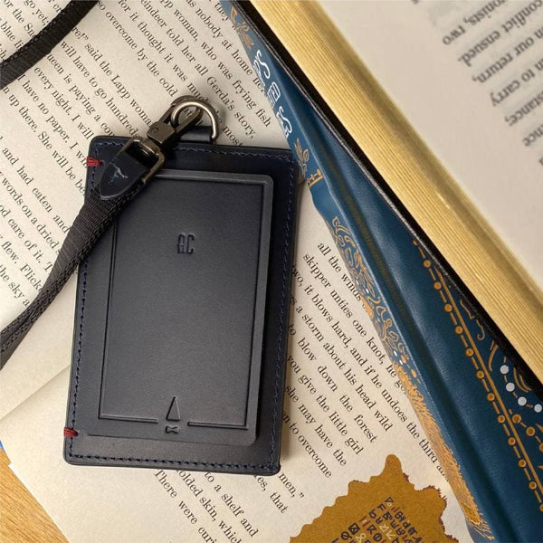 Book ID Card Holder Lanyard Leather Black Personalised