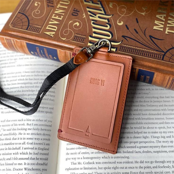 Book ID Card Holder Lanyard Leather Tan Personalised