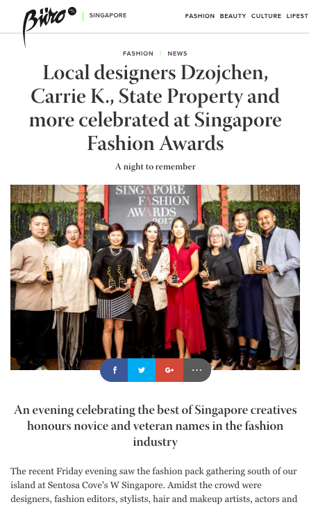 Buro247 | Local designers Dzojchen, Carrie K., State Property and more celebrated at Singapore Fashion Awards