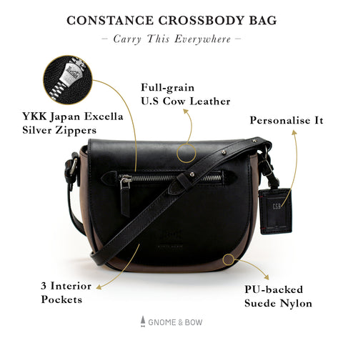 Constance Crossbody Saddle Bag (Suede Nylon Leather) Women Personalised Taupe Grey Silver Zipper