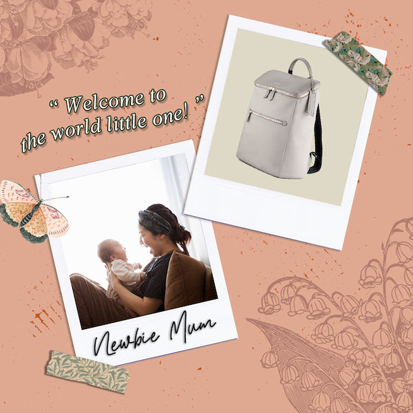 D' Ryna Backpack (Nylon Leather) Taupe Personalised Unique Designer Bags for Mum to be Mother's Day Gift Guide