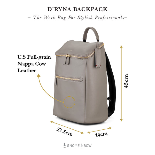 D'ryna Backpack (Leather) Personalised Women Black Blue Taupe Laptop Gold Zippers