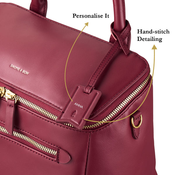 D'ryna Crossbody Handbag (Leather) Women Personalised Black Blue Taupe Pink Red Big Water Resistant Gold Zipper