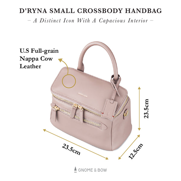 D'ryna Small Crossbody Handbag (Leather) Women Personalised Bag Black Blue Taupe Pink Red Gold Zipper