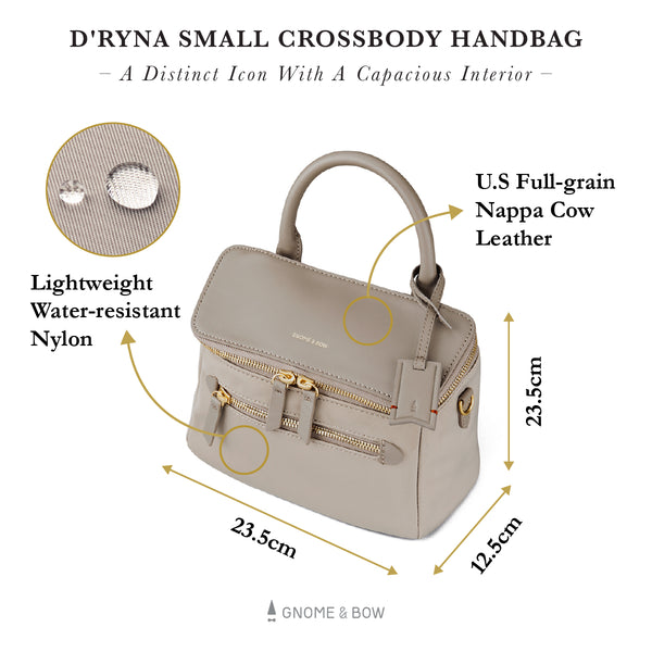 D'ryna Small Crossbody Handbag (Nylon Leather) Women Personalised Black Blue Taupe Small Bag Water Resistant Gold Zipper