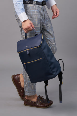 Dryna Backpack (Nylon Leather)-Blue Work Men -Gnome & Bow The Three Musketeer Personalised Gifts