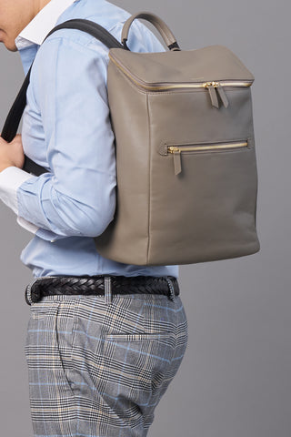 Dryna Backpack (Nylon Leather)-Taupe Work Men -Gnome & Bow The Three Musketeer Personalised Gifts