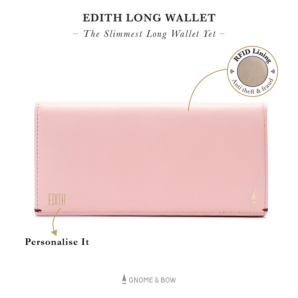 Edith Long Wallet (RFID) Women Leather Personalised Black Blue Taupe Beige Pink Red Slim Gold Zipper