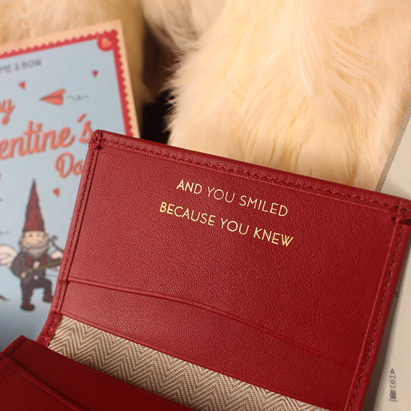 """Eliot Name Card Holder Wallet (RFID) Red Personalised Quote """"And you smiled because you knew"""""""