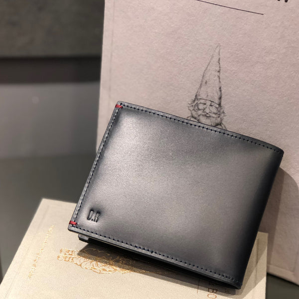 Gnome & Bow Elwyn Coin Pouch Bifold Wallet Leather Black RFID Personalised