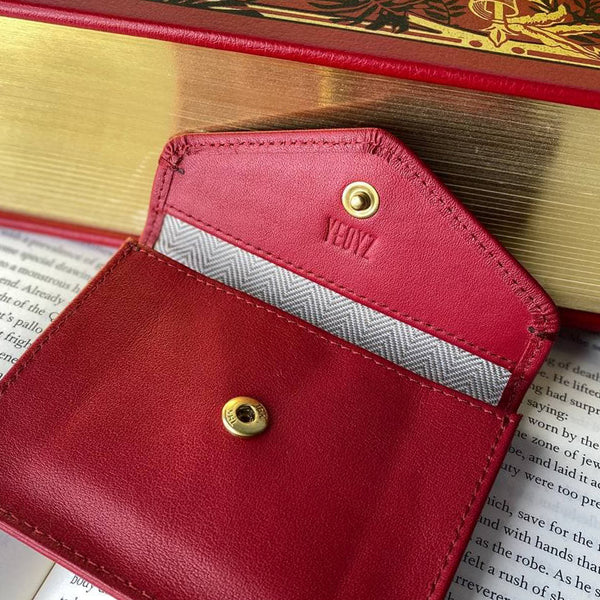 Envelope Card Holder Red Personalised Leather