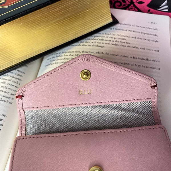Envelope Flap Small Bifold Wallet (RFID) Leather Pink Personalised