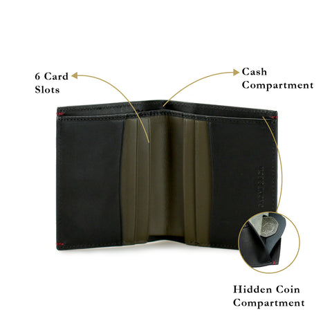 Felton Compact Coin Billfold Wallet Women Personalised Leather Black Olive Thin Small Coin Compartment