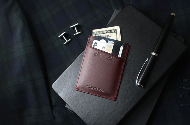 The Fir Cardsleeve in Oxblood keeps you lean and mean as a full-grain leather namecard holder executed in the simplest form.