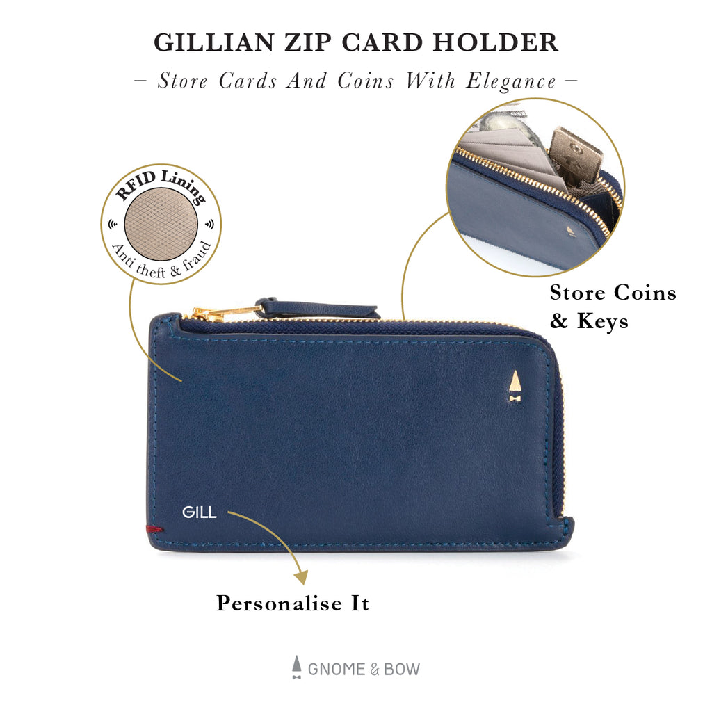 Gillian Zip Card Holder (RFID) Women Leather Wallet Personalised Black Blue Taupe Beige Pink Red Gold Zipper Slim Small