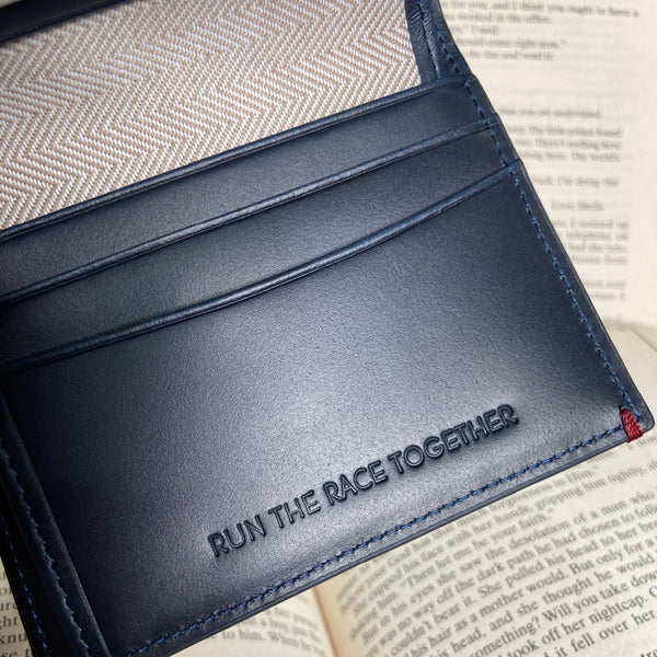 Griffin Small Coin Slot Bifold Wallet RFID Blue Personalisation 2