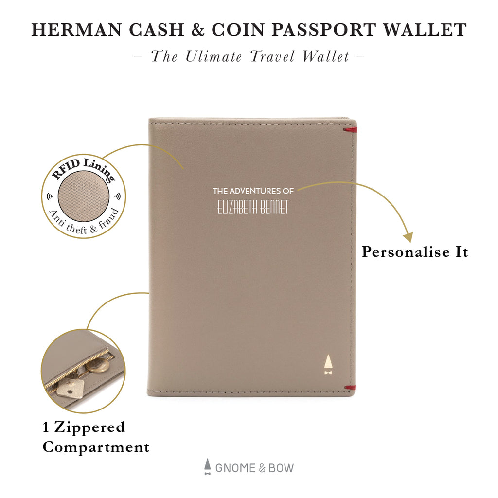 Herman Cash & Coin Passport Wallet (RFID) Personalised Women Leather Black Blue Taupe Beige Pink Red