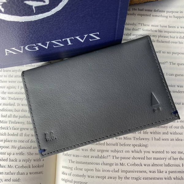 Maecenas Name Card Holder Wallet (Limited Edition) Leather Grey Personalised
