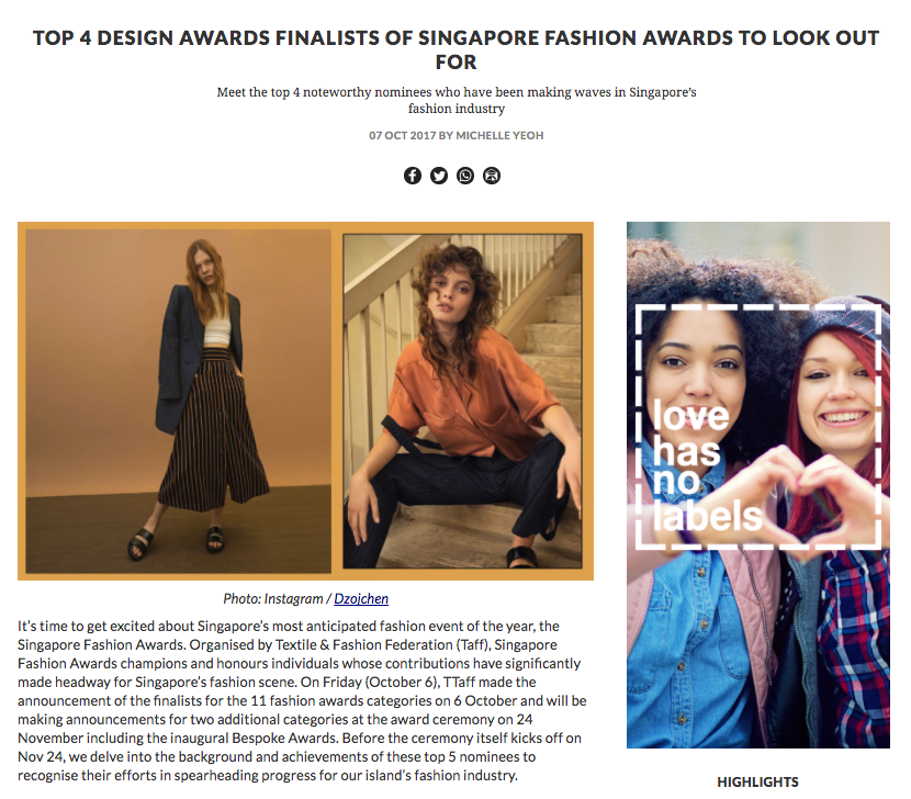 TOP 4 DESIGN AWARDS FINALISTS OF SINGAPORE FASHION AWARDS TO LOOK OUT FOR