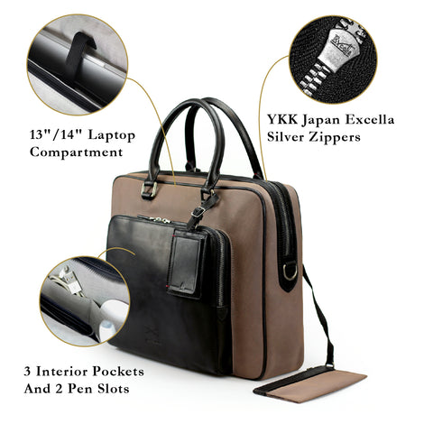 Porthos Crossbody Briefcase (Suede Nylon Leather) Women Personalised Taupe Grey Laptop Bag Silver Zipper