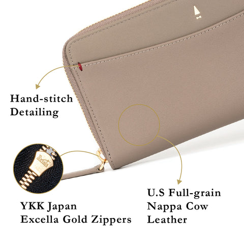 Rudyard Zip Long Wallet Crossbody Bag (RFID) Black Blue Taupe Beige Pink Red Leather Women Gold Zippers Phone Slot Coin Compartment