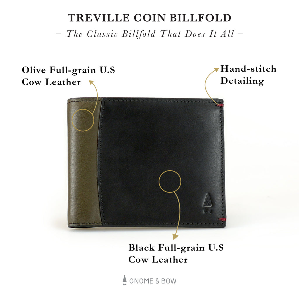 Treville Coin Billfold Wallet Women Leather Small Coin Compartment Personalised Black Olive