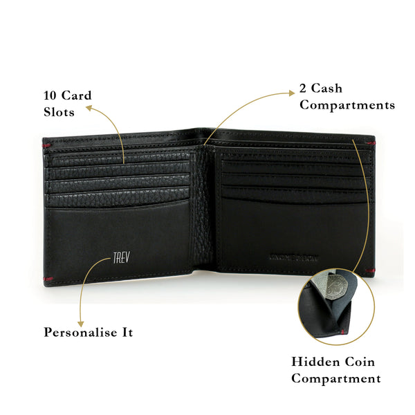 Treville Coin Slot Billfold Wallet Women Leather Personalised Black Olive Coin Compartment