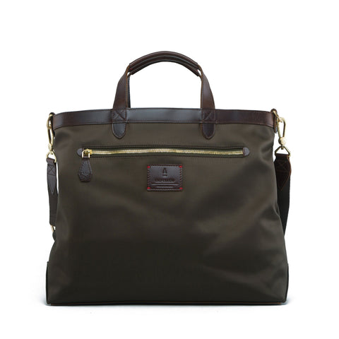 strand briefcase forest green leather nylon reversible