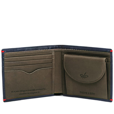 The Regent Coin Billfold in Deep Sea Blue is designed with full-grain leather to be the holdall of wallets. With a two-color leather construction, the shades of deep sea blue and jungle green makes it a man's wallet with a twist.