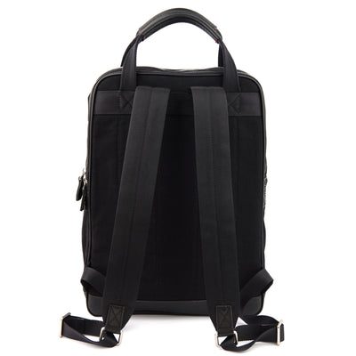 Crafted with full-grain leather, organic canvas, YKK Japan zippers and tech-friendly slots, the Jet Black Cypress Backpack assumes a minimalist stance in appearance, while having a generous supply of internal slots that effortlessly organises your music, travel and technological pursuits.