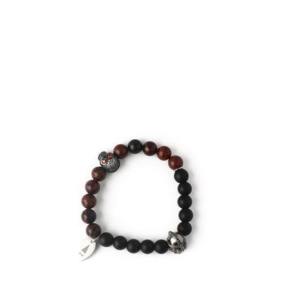 The Helmskull zirconia stones bracelet in Jasper Red offers two styles in one, allowing you to switch it up depending on your mood or the occasion.