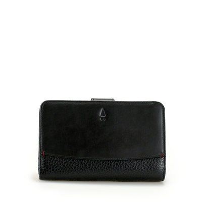 The leather Antoinette tab wallet melds the best of two worlds - the functionality to store all your notes, cards and coins and the dainty poise of a princess. Limited Quantities.