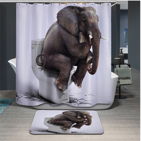 Funny Animals Elephant Waterpoof Bath Curtain